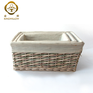 Natural Decorative Chip Wood Willow Storage Basket of Set 3