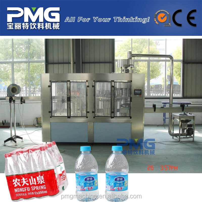 Automatic PET bottle mineral water washing filling capping and labeling machine