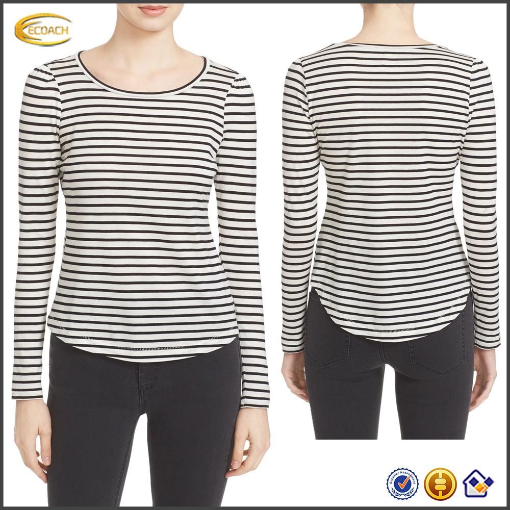 Ecoach 2016 Supersoft Cotton Jersey Long Sleeve Scoop Neckline 100% Cotton Stripe Jersey Top For Women