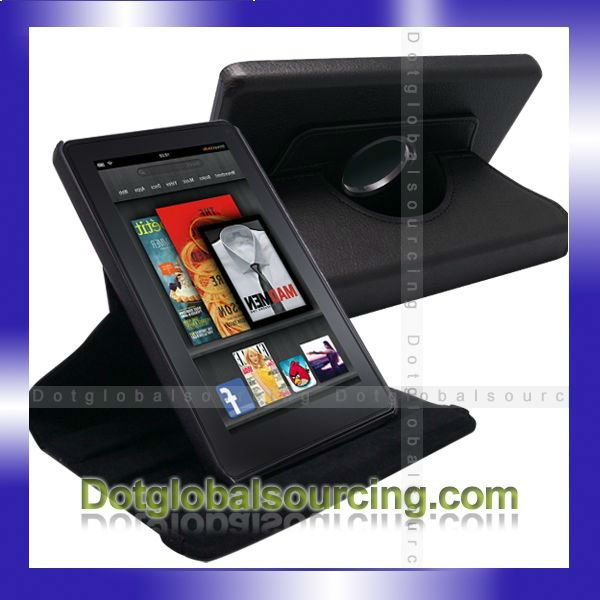 High Quality 360 Degree Rotating Leather Stand Case Cover For Amazon Kindle Fire