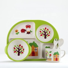 Bamboo fiber children's cutlery set home baby dinner <strong>plate</strong>