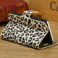 Wholesale hot selling standing wallet leopard leather case covers for iphone5c
