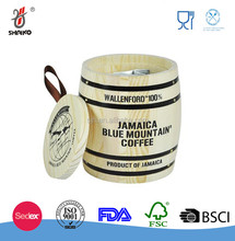 Natural Wood Coffee Bean Containing Mini Wooden Barrel