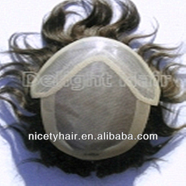 "Fashionable front swiss lace 3/4"" wigs for men"