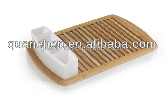 Adjustable Bamboo Dish Rack with Stainless Steel Sides