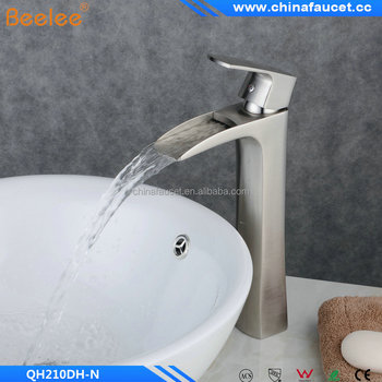Nickel Brushed Finish Single Handle Single Hole Bathroom Waterfall Basin Mixer Vessel Faucet Tap