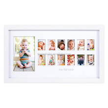 Baby first year photo frame white color