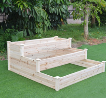 Wood planter 3 Tier Natural Wooden Raised Garden Bed