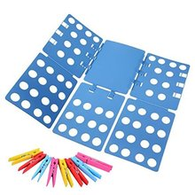 Clothes Folder with Towel Clips - Adult Dress Pants Towels T-shirt Folder / Shirt Folder/ Laundry Folder Board Organizer, Blue