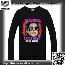 Zhejiang Yiwu Printing Factory 100% cotton Michael Jackson long sleeve round neck rock band t-shirts