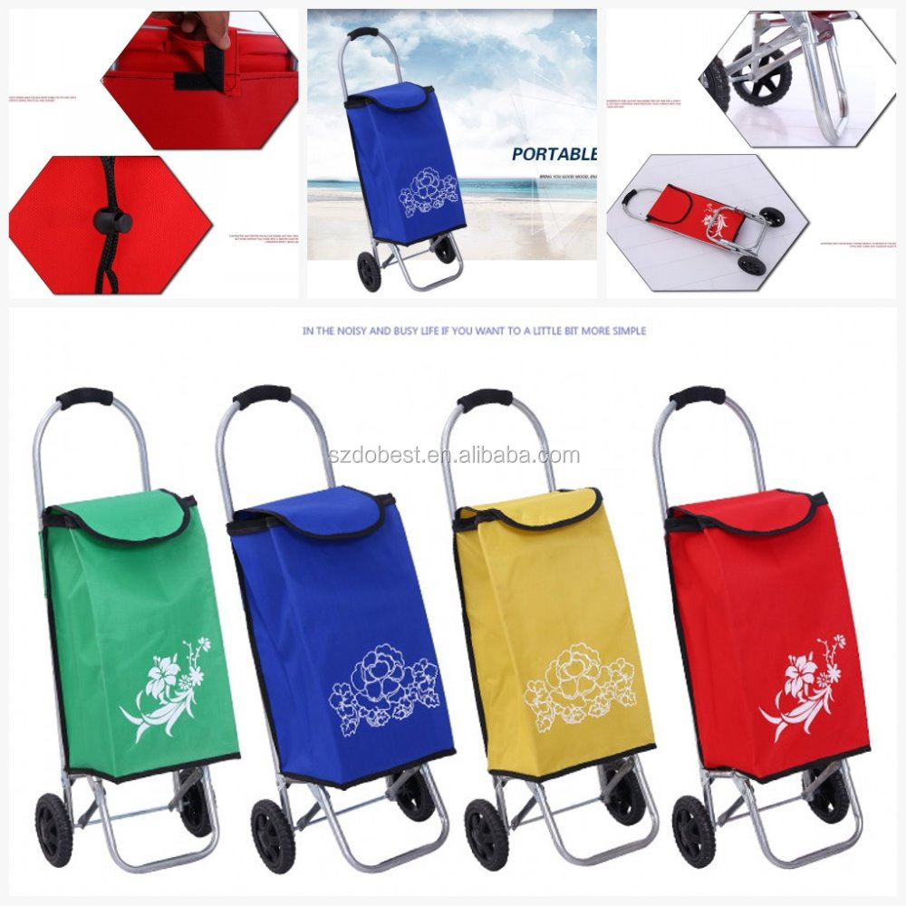 2016 Hot sale new style four wheel shopping trolley bag and wholesale folding shopping trolley