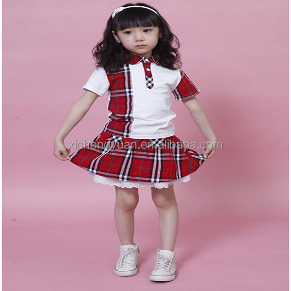 customized children's girls school uniform with t-shirt/skirt