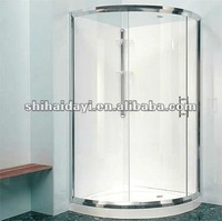 curved sliding shower glass