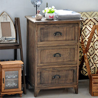 Home decoration industrial design antique furniture 3 drawer cabinet/solid wood cabinet