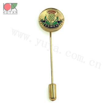 Round shape  copper long stick pin with new enamel high quality 2019 design