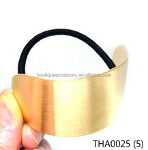 Chic Extra Large Big Gold Tone Metal Semi Circle Punk Rock Ponytail Holder Hair Cuff Tie Rope Ring String Elastic Band Girl Lady