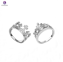 stylish finger rings couples metal silver crystal king and queen rings