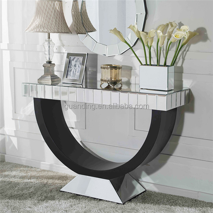 half moon console table with mirror