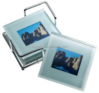 Global Decor Photo Frame Glass Coasters in Chrome Stand, Set of 4