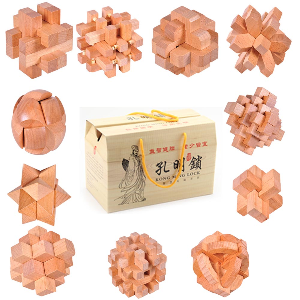 11pcs/lot high quality import Gamany Beech wood educational learning wooden toys 3D IQ burr puzzle brainteaser adult lock games