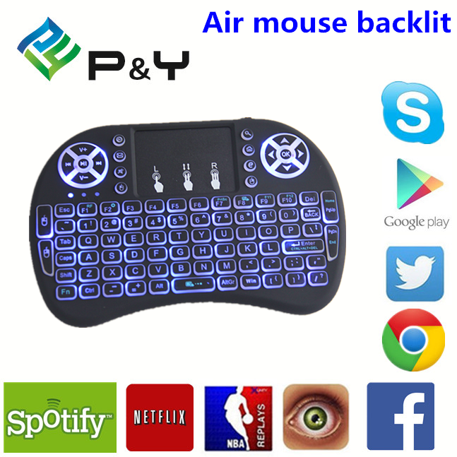 2017 Professional Mini i8 Pro air mouse backlit wireless remote control for Android TV Box made in China 2.4ghz keyboard