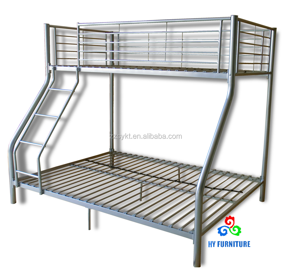 Sturdy 3 person twin over full steel metal children kids bunk beds with stairs