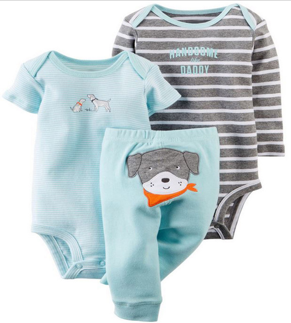 CH008 Original Baby Girls Boys clothing sets Clothes Baby bebes Girls Boys 3-piece Bodysuit Pant Set