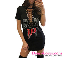 New Design Sexy Black Lace Up V Neck Printed Mini 2017 Women Dresses
