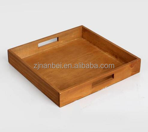 Custom vintage hotel wooden tray antique serving tray with handle