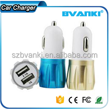 Promotional Wireless 5V 2.1A Mobile Aluminium Dual USB Car Charger for iPhone 6 | for Samsung Portable 12v Car Battery Charger