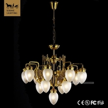 Famous brand Country Style 13 Lights White Bedroom Lampshade Bronze Glass fun Chandeliers