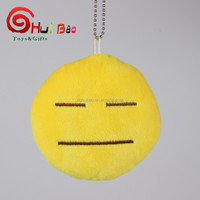 Hot sale cute soft emoji smiley emoticon pendant yellow round toy doll ornaments christmas gift