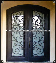 Ormamental Custom Arched Top Wrought Iron Double Doors Made In China