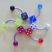 body piercing jewelry dice belly ring
