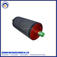 belt conveyor drum bend pulley rubber coatted embossing steel roller china supplier