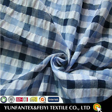 2015 latest design fashion soft poly cotton poplin big check blue seersucker fabrics for women shorts