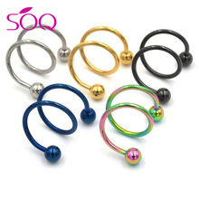 316L Stainless Steel Spiral Ear Cuff Clip Fake Piercing Nose Lip Spiral Rings Body Jewelry