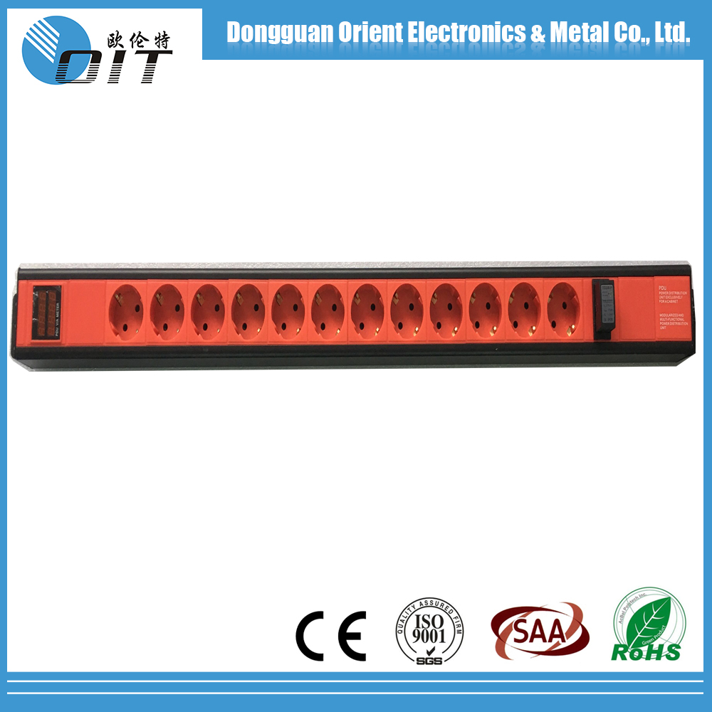 aluminium alloy oem pdu 1.5U 12 Outlet Germany rack pdu socket with Hotplug Lighting Protection and Current voltage display PDU