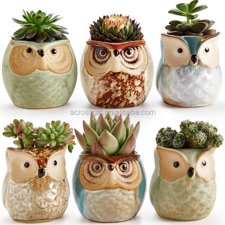 personalized handmade color glazed decorative ceramic Owl Succulent Plant Pot Cactus Plant Pot