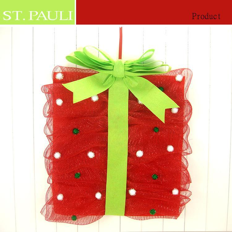 China supplier wholesale lovely pot pattern gift bag design christmas mesh decoration with felt bow