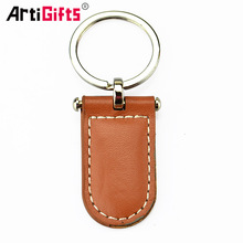 Promotional custom cheap metal and leather key ring