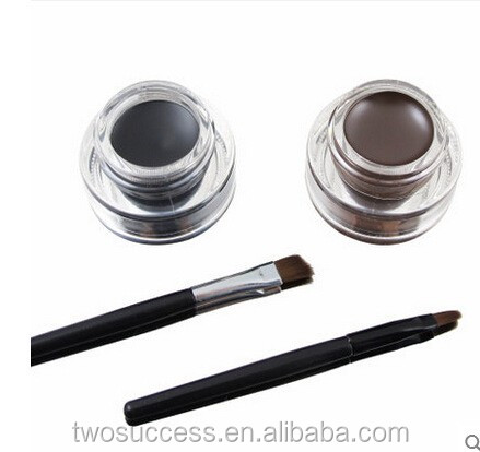 Fashion 2pcs Makeup Not Dizzy Catch Waterproof Double Color Gel Eyeliner With Brush
