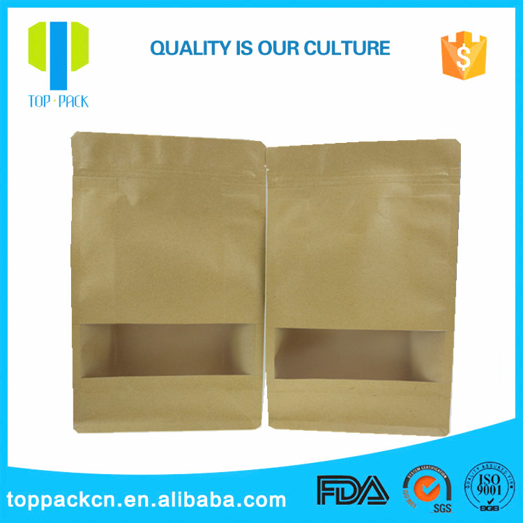Resealable brown flat bottom kraft paper bag with clear window