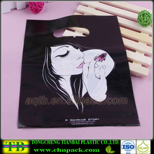 Cloth Carrying Die Cut HDPE Plastic Advertisement Bags Cloth Bag