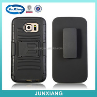 Military 3 in 1 pc silicone robot case with kickstand belt clip phone case for Samsung S6