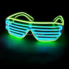 Custom Flashing Multi Color Neon El Wire LED Light Up Luminated Shutter Glasses with Voice Controller For Festival, Party