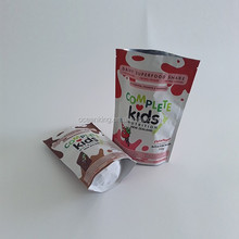 matter coated finish food grade plastic resealer zipper stand up kids food pouch bags