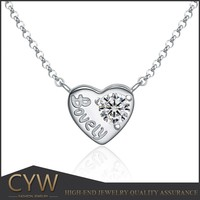 2016 925 silver heart necklace Valentines Day jewellery for girl