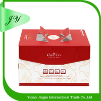 custom decorative christmas cute paper cake box with plastic window and handle