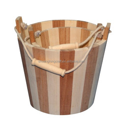 Cheap nice solid wood bucket with rope handle